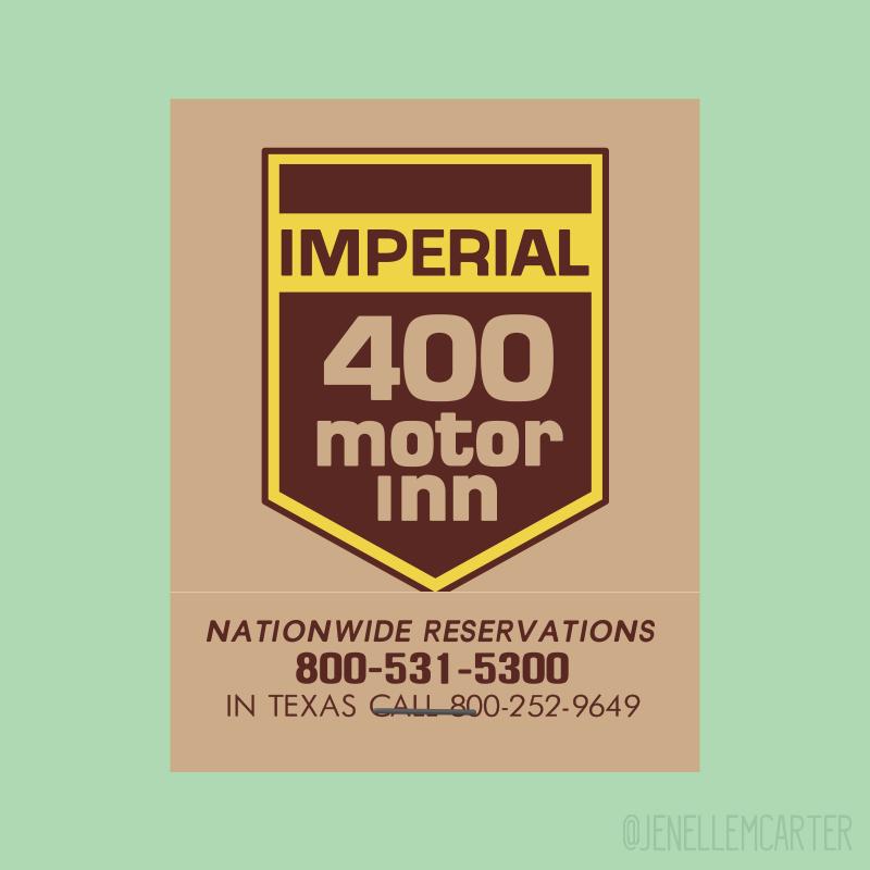Imperial 400 motor inn Matchbook Cover